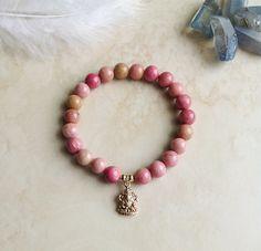 Luck & Love  Rhodonite Ganesh Bracelet by InnerFireJewelry on Etsy #rhodonite #heartchakra #ganeshabracelet
