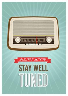 Mid Century Art, Retro vintage radio poster, typography quote art, nursery…