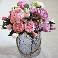Cheap Artificial Dried Flowers, Buy Directly from China Suppliers:Artificial flowers for decoration Rose Peony Silk small bouquet flores party spring wedding decoration mariage fake Flower Peony Bouquet Wedding, Silk Flower Bouquets, Small Bouquet, Rose Bouquet, Peonies Bouquet, Rose Wedding, Floral Wedding, Artificial Silk Flowers, Fake Flowers