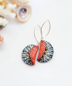 Long dangle earrings/Blue red earrings/Ocean by FavoriteDream