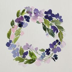 x Violet Wreath - Original Painting // YaoChengDesigns // Such beautiful, deep colours Wreath Watercolor, Watercolour Painting, Watercolor Flowers, Painting & Drawing, Watercolors, Mural Painting, Botanical Art, Purple Flowers, Painting Inspiration