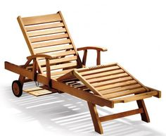Luxury Teak Reclining Lounger with Arms & FREE Cushion, All Sun Loungers
