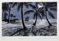 """Moonlight"" Carol Collette Nighttime Sky, Beach Night, Hawaiian Art, Beautiful Moon, Surf Art, Local Artists, Love Art, Moonlight, Wall Murals"