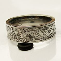 titanium Dragon Rings for Men | Mens titanium wedding ring engraved scrolls and silver inlay