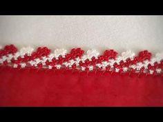 İP YÜRÜTMELİ SIRALI TIĞ OYASI TÜRKÇE VİDEOLU AÇIKLAMALI | Nazarca.com Crochet Edging Patterns, Crochet Borders, Crochet Motif, Baby Knitting Patterns, Crochet Designs, Knitting Designs, Crochet Stitches, Embroidery Stitches, Saree Tassels Designs