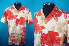 Japanese nostalgic print, Hawaiian shirt, Men, US size M by PriscillaTokyo on Etsy