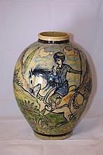 Hand painted clay vase, Iran, mid 20th-century, H-45 cm.