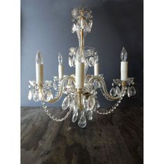 1950s Crystal and Glass Chandelier by JustSmashingDarling on Etsy, $269.00
