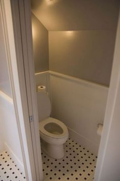 Guest toilet below the stair Adding a shower would be nice Sloped Ceiling Over . Guest toilet below the stair Adding a shower would be nice Sloped Ceiling Over Toilet A Guest to Small Toilet Room, Guest Toilet, Downstairs Toilet, Downstairs Cloakroom, Loft Bathroom, Small Bathroom Vanities, Bathroom Toilets, Bathroom Ideas, Master Bathroom