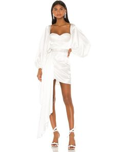 Shop for Bronx and Banco Lana Bridal Mini Dress in White at REVOLVE. Figure Flattering Dresses, Grecian Goddess, Tea Length Wedding Dress, Dress Wedding, White By Vera Wang, Beaded Gown, The Dress, Satin Fabric, Ball Gowns