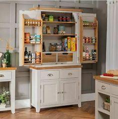 Kitchen Pantry Cupboard, Kitchen Cupboards, Kitchen Storage, New Kitchen, Storage Spaces, Pantry Storage, Food Storage, Kitchen Ideas, Oak Shelves