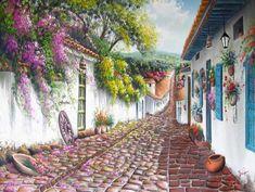 Pinturas al óleo. Los cuadros de José Raúl Rodríguez Galán retratan escenas de paisajes campestres y arquitectura colonial con colores vibrantes