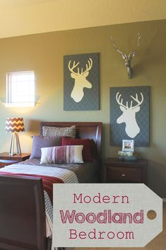 Modern woodland bedroom. Great for teen or tween. Also could be good as a hunting eme. A few simple tricks to pulling this look off, with paint, accessories, and art. Also a how-to deer art piece.  Theraggedwren.blogspot.com