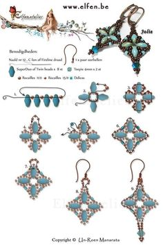 FREE Tutorial for Earrings JOLIE made with Superduo or Twin beads and Swarovski Crystals. Use: 8 SuperDuo or Twin beads, 2 bicone beads seed beads Delica (tube)seed beads Bead Jewellery, Seed Bead Jewelry, Seed Bead Earrings, Seed Beads, Beaded Necklace, Pearl Jewelry, Crystal Jewelry, Gemstone Jewelry, Diamond Jewelry
