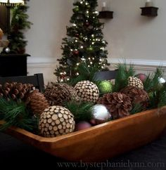 I just made this basket with scented pinecones. My whole living room smells like cinamon.  Love!