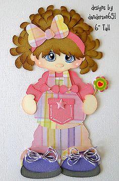 Girl in Overalls  Paper Piecing PreMade 4 Borders Scrapbook Album danderson651