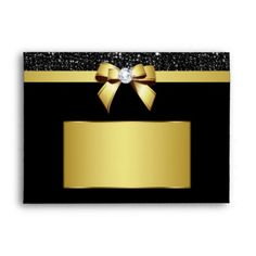 Chic Black Sequins Diamond Gold Bow Envelope