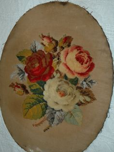 Victorian Plush and Beadwork Panel on canvas. Vintage Sewing, Needlepoint, Needlework, Decorative Plates, Cross Stitch, Plush, Victorian, Textiles, Tapestry