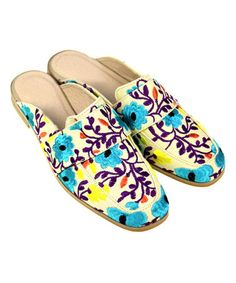 Love this Tan & Blue Floral Crystal-Studded Mule on #zulily! #zulilyfinds