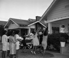 ~ 1960 ~ Bouquet Toss in South Central Los Angeles — at South Central LA.  Qione Holmes > Vintage African American Photography/Facebook