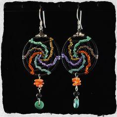Bead Kits and Jewellery - Bolt of Lightening Delica Beaded Dream Catcher Dangle Earrings, $50.00…