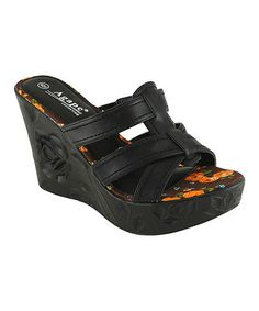 Love the Carved out Rose on the sides~ This Black Petal Wedge Sandal by Agape is perfect! #zulilyfinds