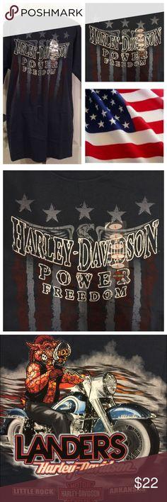 NWT Harley Davidson Blue Short Sleeve T Shirt This NWT Harley Davidson T-Shirt is made of 100% Cotton. Patriotic type Harley Davidson Logo Design on the front. Fantastic Dealership Logo on the back. Use the Bundle Option for an Amazing Discount. Harley-Davidson Shirts Tees - Short Sleeve