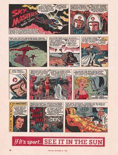 Sunday Comics III -- Sky Masters of the Space Force Vintage Type, Vintage Items, Jack Kirby, Vintage Comics, Masters, Comic Art, The Past, Sunday, Sky