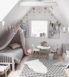 ( Just love the reading corner in here 👆🏻that we made yesterday! The paper cans… Kids Interior, Cute Room Decor, Pretty Room, House Beds, Little Girl Rooms, Room Inspiration, Interior Inspiration, Girls Bedroom, Decoration