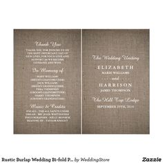 Rustic Burlap Wedding Bi-fold Program Template Flyer
