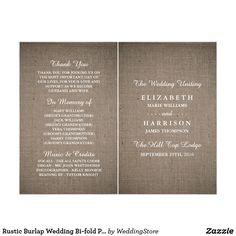 Rustic Burlap Wedding Bi-fold Program Template Flyer