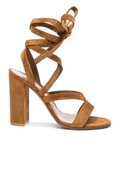 Image 1 of Gianvito Rossi Suede Janis High Sandals in Tan