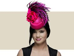 MINI FEATHER PILLBOX - Mini Pillbox in Parisisal with Multi-colored Feathers and Rose Trim.    For More Information About This Fascinator, Please Contact Us at 312-965-9182 or CustomerService@GoldCoastCouture.com