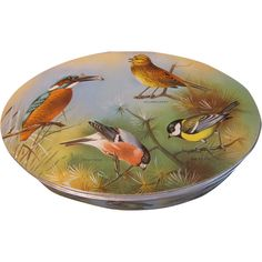 Lovely Vintage Oval Biscuit Tin, Birds -- Add to your vintage and antique collections with great finds from www.rubylane.com #rubylane