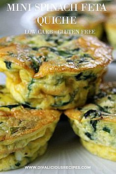 A mini spinach feta quiche that is crust-less and baked in a muffin tin. Great for breakfast, brunch, a light lunch, picnic or snack. A delicious breakfast or snack, the simple flavours of spinach and feta are great in these mini crustless quiches. Mini Quiches, Low Carb Recipes, Vegetarian Recipes, Cooking Recipes, Cooking Chef, Brunch Recipes, Breakfast Recipes, Picnic Recipes, Picnic Ideas