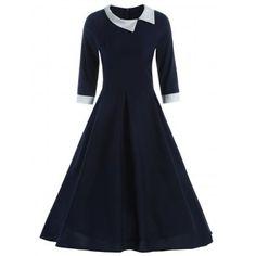 Contrast Collar Tea Length Vintage Swing Dress - Cadetblue M Vintage Style Outfits, Vintage Fashion, Vintage Dresses Online, Swing Dress, Pretty Dresses, Beautiful Outfits, Fashion Dresses, Girls Dresses, Short Sleeve Dresses