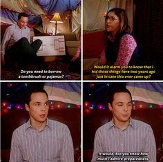 """""""Do you need to borrow a toothbrush or pajamas?"""" - Sheldon and Amy #TheBigBangTheory"""