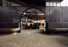 Giant Steps Winery - Yarra Valley. Interior Design by Wendy Bergman of Bergman & Co - The arch and curved banquettes have my heart!