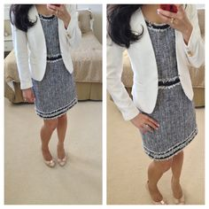 Rebecca Taylor Tweed and white blazer #Workoutfit #ootd