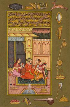 Mughal Miniature Painting Handmade Indo Islamic Script Paper Ethnic Moghul Art
