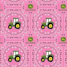 JOHN DEERE PINK BANDANNA COTTON FABRIC    Designed by Deere & Company and licensed to Springs Creative Products, this cotton print fabric is perfect for quilting, apparel and home decor accents.  Colors include pink, green, yellow, black and white.    What little girl wouldn't want this fun John Deere Fabric in their own bedroom.  100% quality cotton, 44 inches wide and perfect for a quilt, home dec or clothing.      All fabric from The Quilted Nursery Fabric Store is sold by the yard and…