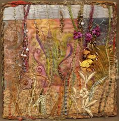 8 inch square art quilt with hand painted center panel and vintage lace