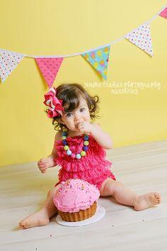 1st Birthday Girl Photography... If only Birklie had hair LOL