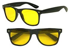 Sunglass Stop  Trendy 50mm Classic 80s Spring Temple Horned Rim Wayfarer Sunglasses w Rare Color Tinted Lens Black  Yellow >>> To view further for this item, visit the image link.