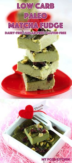 Low Carb Paleo Green Tea Matcha Fudge - My PCOS Kitchen - Great fat bombs that are completely dairy-free, sugar-free and gluten-free! #lowcarb #paleo #valentinesday #matcha  via @mypcoskitchen