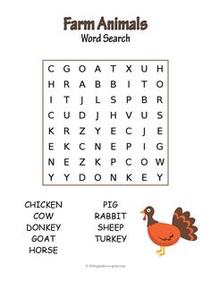 Get young children learning about their barnyard friends with our fun farm animal word search.  Look for the words cow, pig, and more.