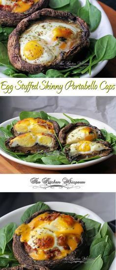 Egg Stuffed Skinny Portabello Mushroom Caps! Paleo, Gluten Free, Diet, Carb, Low Calorie friendly and amazingly delicious!