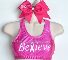 SET Metallic BELIEVE Sports Bra with Matching  Bow on Etsy, $39.95