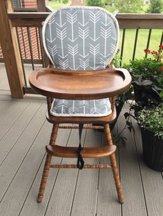 Something like this, with correct measurements. Wooden Highchair: Gray Arrow Piping Cushion for by CraftyNStitches