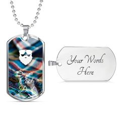 This is a unique gift to help celebrate that super cool dad in your life. The dog tag comes in gold and silver and prices start at $39.95.#specialdadgift #bestdadgift #cooldadgift Best Dad Gifts, Gifts For Dad, Love Lily, Glass Coating, Personalized Necklace, Working Moms, Custom Engraving, You Are The Father, Dog Tags